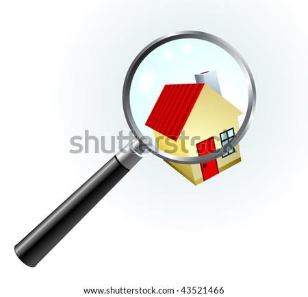 House Under Magnifying Glass Original Vector Illustration Simple Image Illustration - stock vector