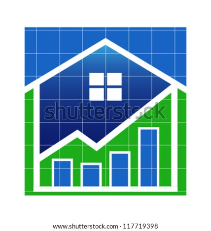House Value up image. Vector icon - stock vector