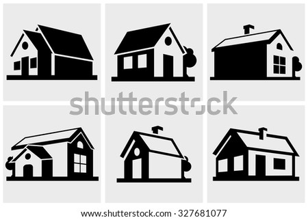 House vector icons set on gray.