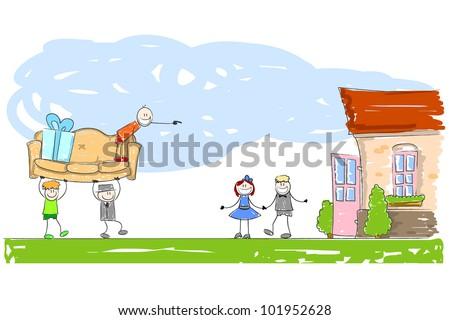 House warming - stock vector