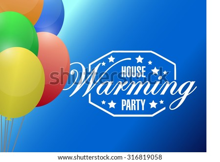 house warming party balloons background sign illustration design graphic - stock vector