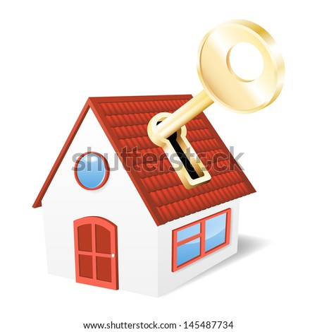House with a golden key. Vector illustration - stock vector