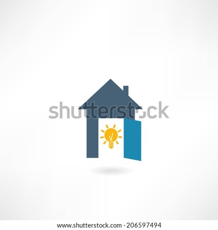 house with a light bulb icon - stock vector