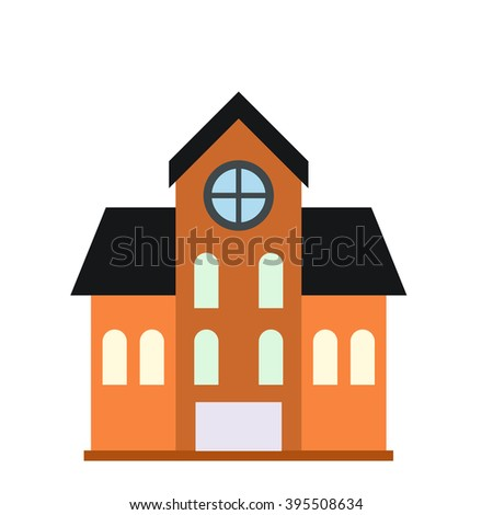House with a mansard icon - stock vector