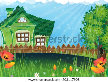 House with a tiled roof and a tree with lush foliage in a sunny meadow. Rural landscape - stock vector
