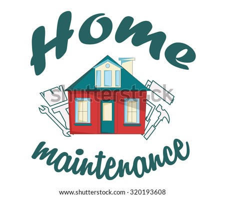 House with a wrench and a hammer. House with tools. Home  maintenance logo. - stock vector