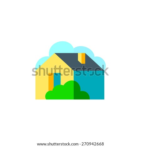House with garden, Property icon, vector