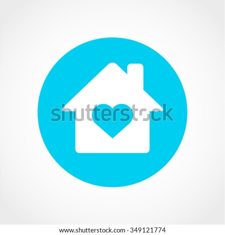 House with Heart Icon Isolated on White Background