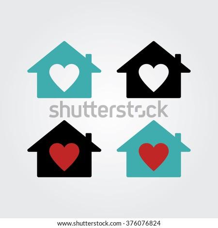 House with Heart Icon. Real estate house logo concept. - stock vector