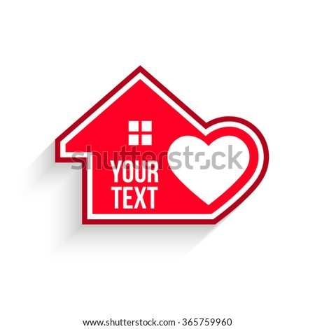 House with heart inside. Vector graphic - stock vector