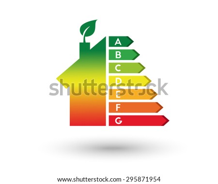 House with leaf as energy efficiency and home improvement concept. Eps10 vector illustration. - stock vector