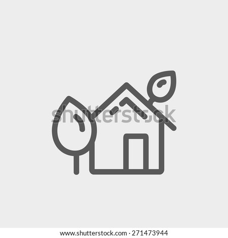 House with leaves icon thin line for web and mobile, modern minimalistic flat design. Vector dark grey icon on light grey background. - stock vector