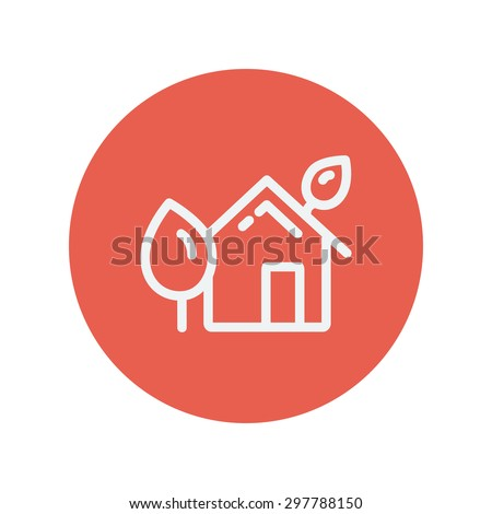 House with leaves thin line icon for web and mobile minimalistic flat design. Vector white icon inside the red circle.