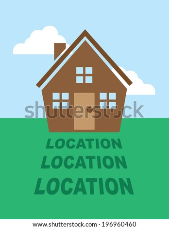 House with location text in shadow   - stock vector