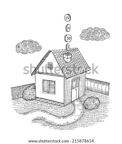House with money from the pipe - stock vector
