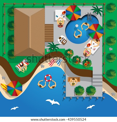 House with pool on the beach.  A place to rest of people.  View from above. Vector illustration.