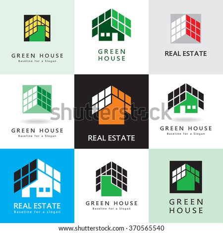 House with roof, abstract graphic symbol, vector icon, sign. Set of simple images, design element. - stock vector