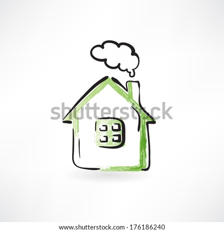 house with smoke from the chimney - stock vector