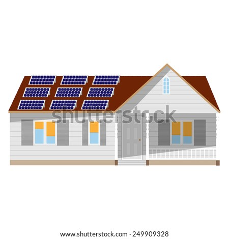 House with solar battery vector isolated, ecological technology, concept, Eco generation - stock vector