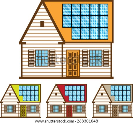 House with Solar Panels - stock vector