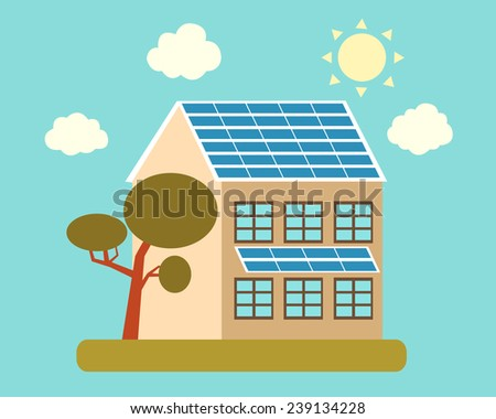 House with solar panels on the roof and a tree. Vector illustration - stock vector