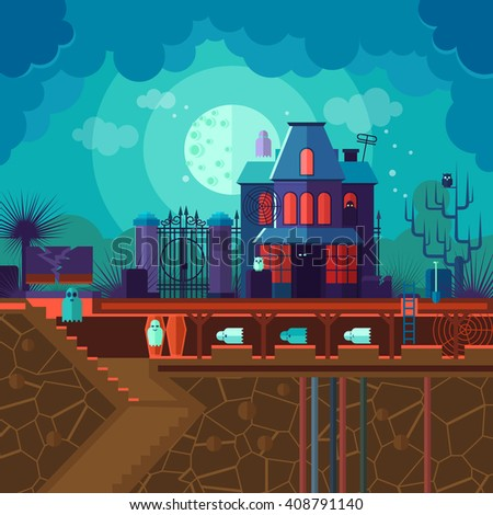 House with the ghosts. Illustration with underground crypt, moonlight night, wrought iron shutters, owl, coffins. Vector flat card. - stock vector