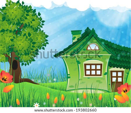 House with tiled roof on a green meadow. Summer solar landscape - stock vector