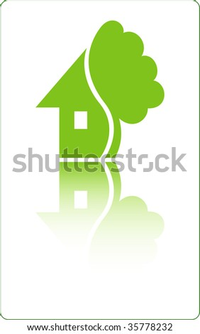 House with tree. Vector - stock vector