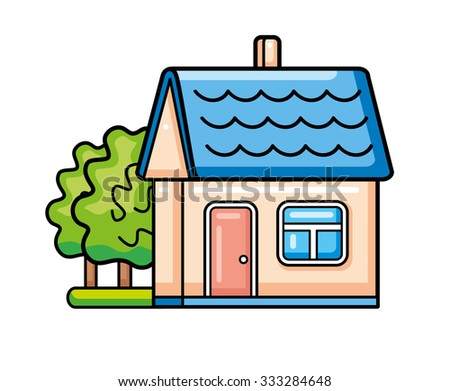 House with trees icon. - stock vector