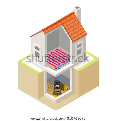 House Wood Boiler Floor Heating Infographic Icon Concept Isometric 3d Soften Colors Elements Wood Heat Providing Chart Scheme Illustration Vector