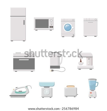 Household appliance set vector. a washing machine. Microwave, coffee machine. fridge,  on white background - stock vector