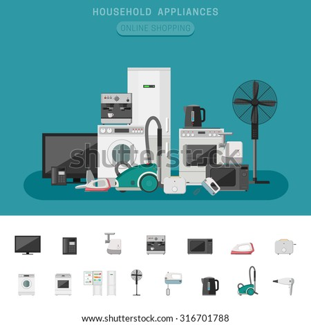 Household appliances banner with vector flat icons microwave, coffee machine, washing machine, etc. - stock vector