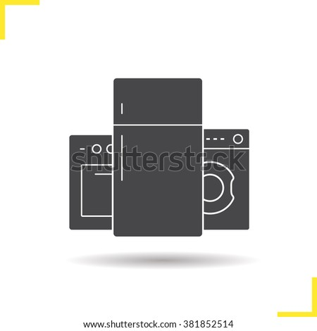 Household appliances icon. Drop shadow pictogram. Oven, refrigerator and washing machine. Isolated illustration. Logo concept. Vector silhouette symbol - stock vector