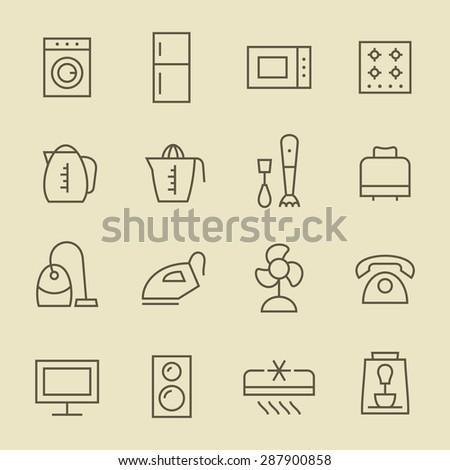 Household appliances icon set - stock vector