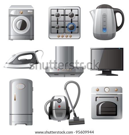 Household appliances icons set - stock vector