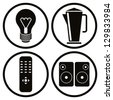 Household appliances icons set, light bulb, teapot, tv remote control, speakers. - stock vector