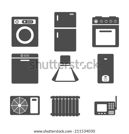 household appliances icons, set of kitchen equipment on a white background - stock vector