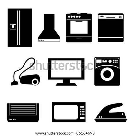 Household appliances isolated on white