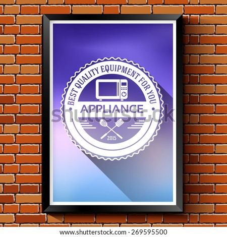 household appliances logo or label template blurred background on red brick wall. Vector illustration isolated icons for your product or design, web and mobile applications with text stamp. - stock vector