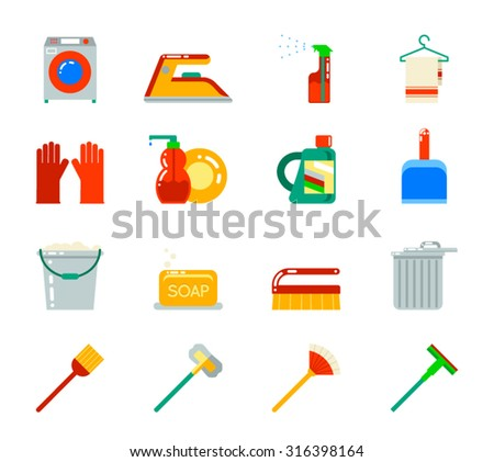 Household Cleaning Symbols Accessories Icons Set Flat Design Vector Illustration