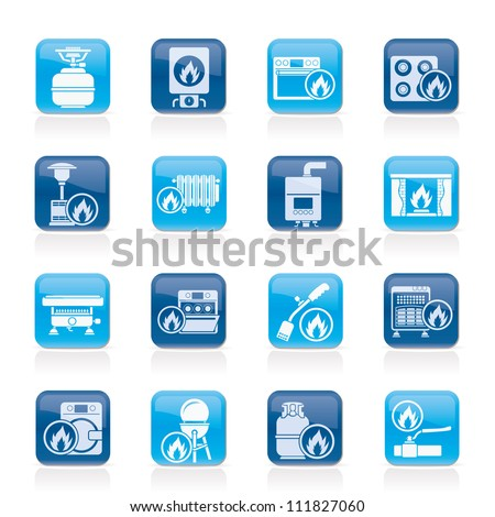 Household Gas Appliances icons - vector icon set - stock vector