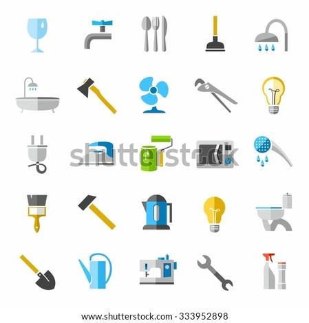 Household goods, color icons, images. Colored, vector images of household goods, construction tools and electrical appliances.