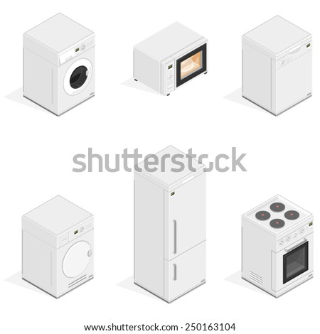 Household Icons appliances. Isometric Kitchen Appliances. Major household appliance Icon Set.  - stock vector