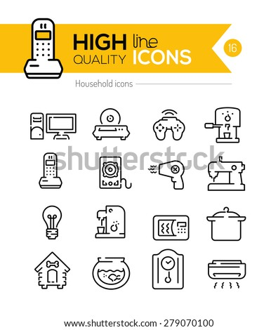 Household icons line series - stock vector