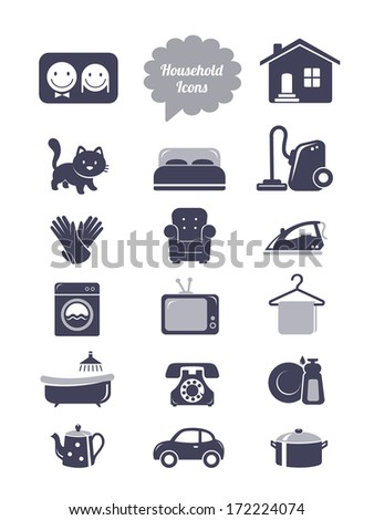 Household icons set - stock vector