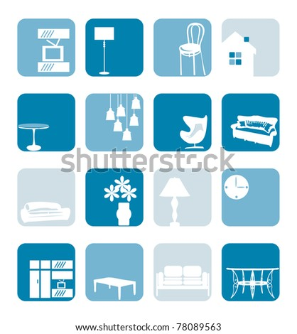 Household Interior ornaments set - stock vector