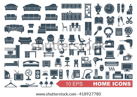 Household items. The furniture and appliances. Vector icons - stock vector