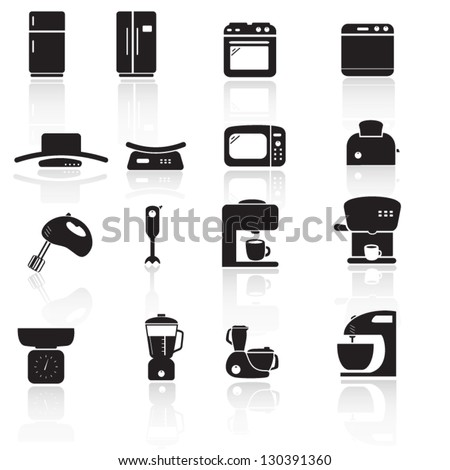 Household kitchen aplliance icons - stock vector