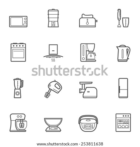 Household kitchen appliances vector line style isolated icon set and symbols - stock vector