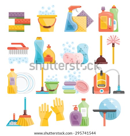 Household supplies and cleaning flat icons set. Flat design concepts for web banners, web sites, printed materials, infographics - stock vector